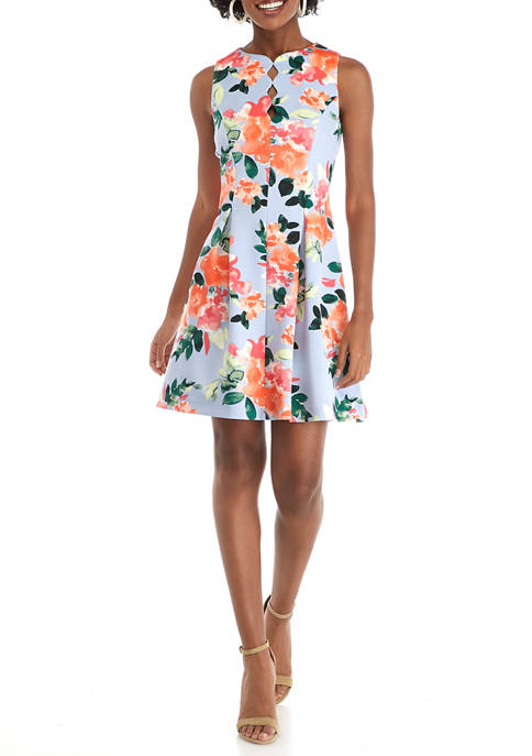Womens Scallop Keyhole Fit and Flare Scuba Dress