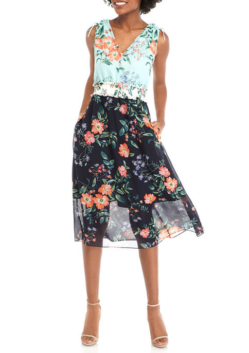 Womens Sleeveless Smocked Waist Printed Chiffon Dress