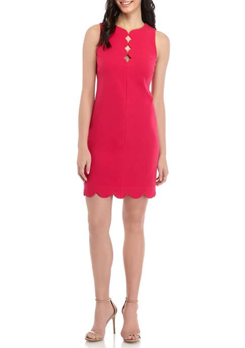 Womens Sleeveless Scallop Neck Ponte Shift Dress