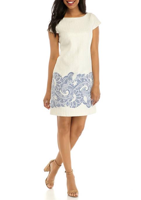 Womens Cap Sleeve Jacquard Shift Dress