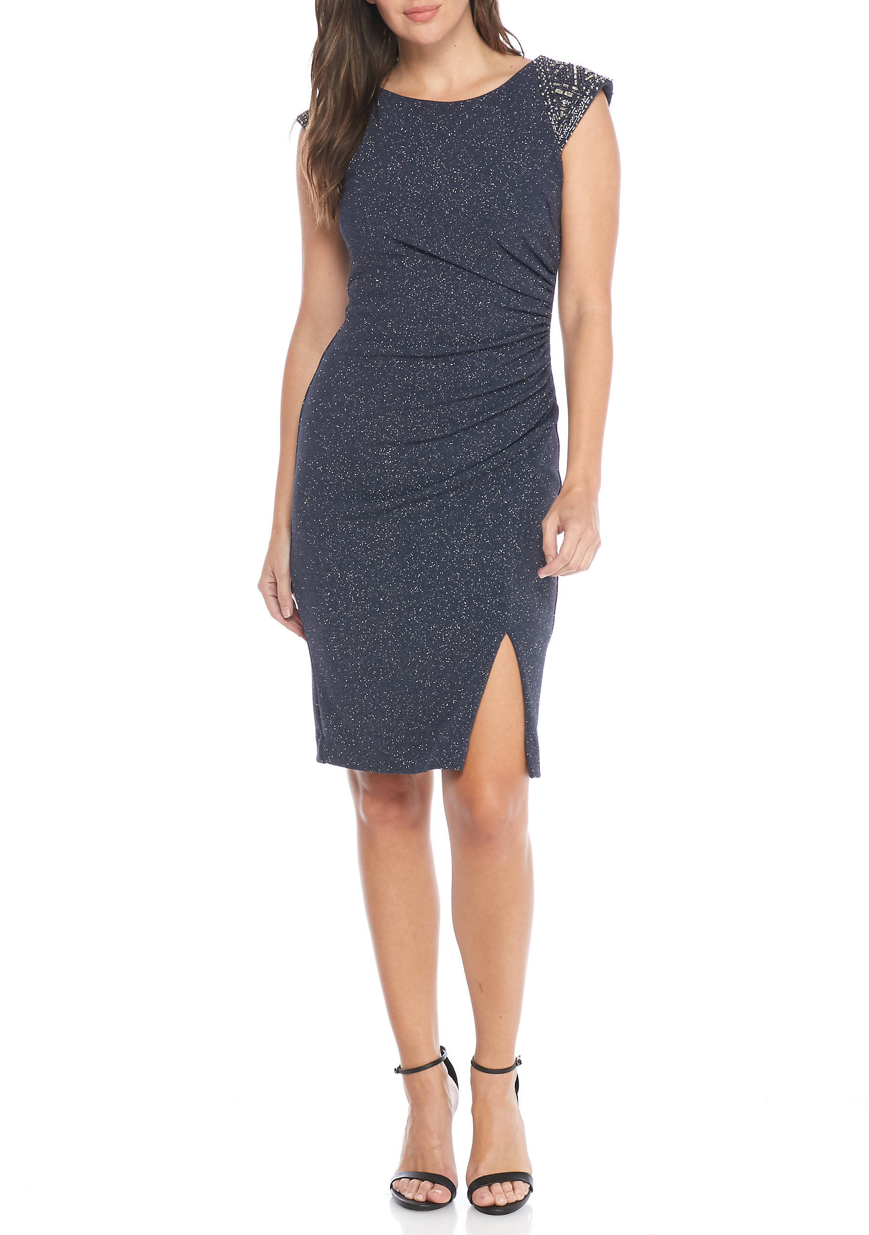 Vince Camuto Bead and Glitter Sheath Cocktail Dress   belk