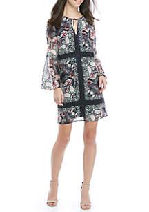 Long Bell Sleeve Printed Chiffon Dress