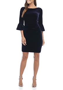 3/4 Flounce Sleeve Low Back Dress