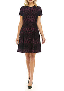 Flocked Fit and Flare Dress