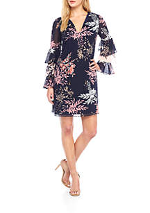 Long Tiered Sleeve Printed Shift Dress