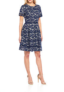 Short Sleeve Bonded Lace Fit-and-Flare Dress