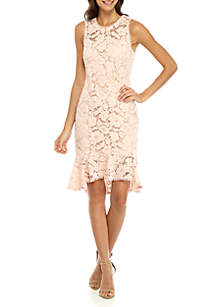 Sleeveless Lace Bodycon Dress with Ruffle Hem