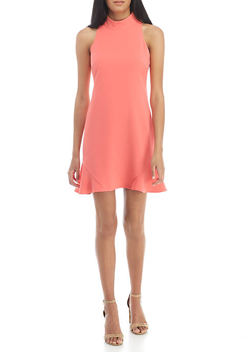 Vince Camuto Crepe Roll Neck Shift Dress with
