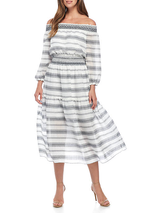 Vince Camuto Smocked Waist Midi Dress