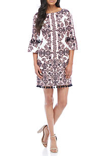 Print Cotton Bell Sleeve Shift Dress with Tassels