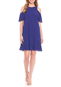 Cold Shoulder Pleat Detail Shift Dress