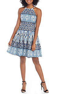 Printed Scuba Halter Fit-and-Flare Dress
