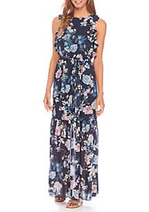 Printed Chiffon Ruffle Bodice Maxi Dress with Split