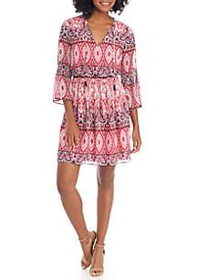 Printed Bell Sleeve V-Neck Smock Dress