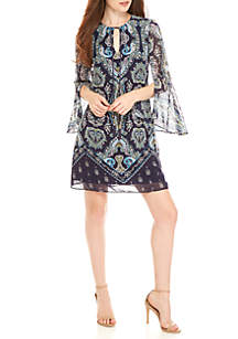 Printed Bell Sleeve Chiffon Dress