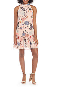 Printed Mock Neck Ruffle Hem Floater Dress