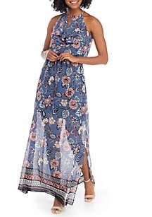 Printed Ruffle Bodice Halter Dress