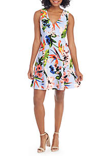 Sleeveless V-Neck Printed Scuba Fit-and-Flare Dress
