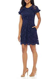 Lace Ruffle Shoulder Fit-and-Flare Dress