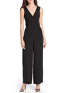 Sleeveless Crepe Jumpsuit with Belt