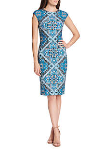 Tribal Printed Scuba Crepe Bodycon Midi Dress
