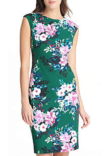 Floral Scuba Crepe Bodycon Midi Dress