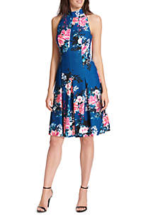 Floral Fit and Flare Dress with Halter Neck and Racerback