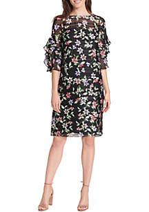 Chiffon Dress with Ruffle Sleeves