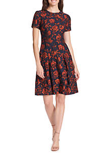 Multi Floral Jacquard Short Sleeve Fit And Flare Dress