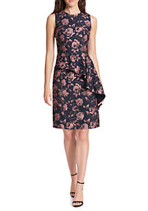 Floral Sleeveless A-line Jacquard Dress with Cascading Peplum