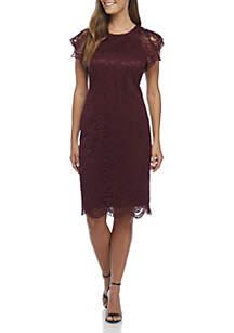 Short Lace Ruffle Sleeve Bodycon Dress