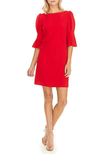 3/4 Sleeve Textured Crepe Shift Dress