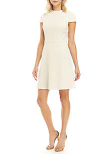 Cap Sleeve Boucle Fit and Flare Dress