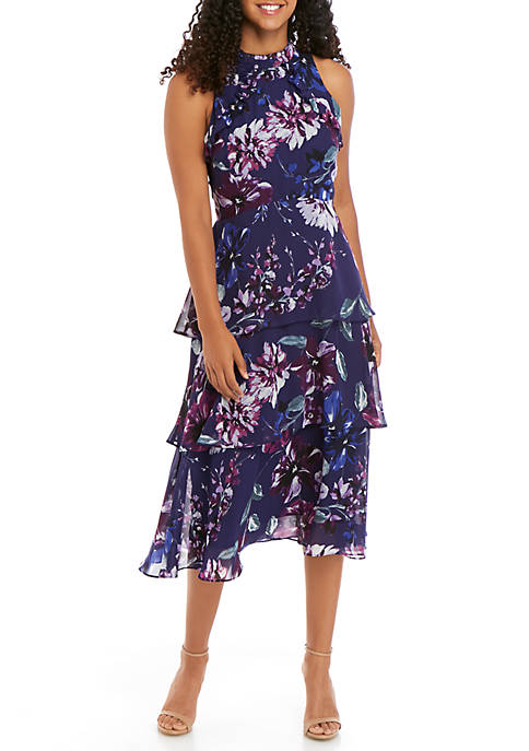 Sleeveless Printed Tiered Chiffon Dress