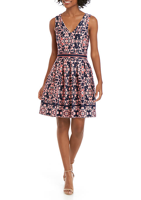 Sleeveless Printed V-Neck Fit and Flare Dress