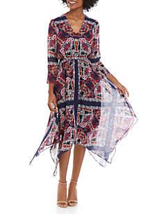 Vince Camuto Long Sleeve Chiffon Printed Midi Dress