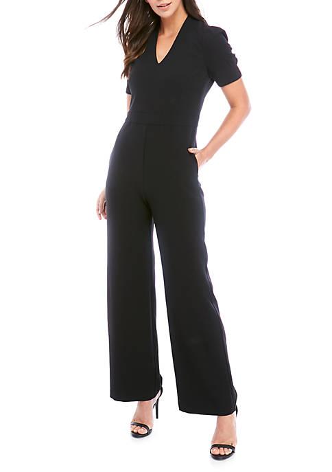 Short Puff Sleeve Crepe Jumpsuit