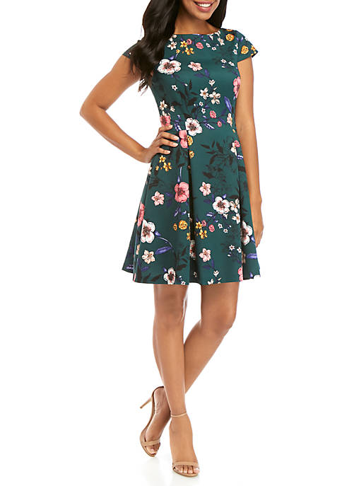 Short Sleeve Printed Fit and Flare Dress
