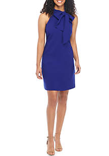 Vince Camuto Halter Bow Neck Crepe Dress
