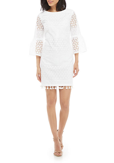 Vince Camuto 3/4 Bell Sleeve Eyelet Shift Dress