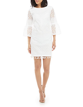 45c14a3f356 Vince Camuto. Vince Camuto 3 4 Bell Sleeve Eyelet Shift Dress