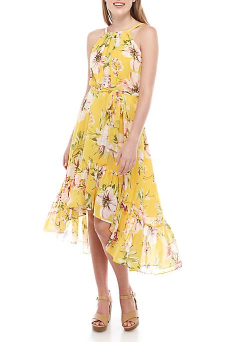 Floral Chiffon High Low Dress