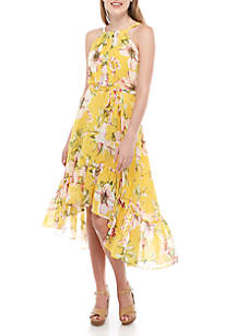 Vince Camuto Floral Chiffon High Low Dress