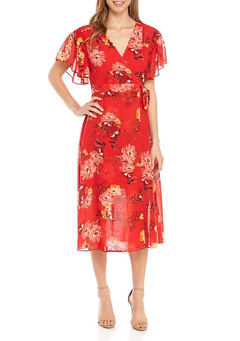 Floral Chiffon Faux Wrap Midi Dress