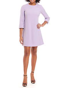 3/4 Sleeve Crepe A-Line Dress