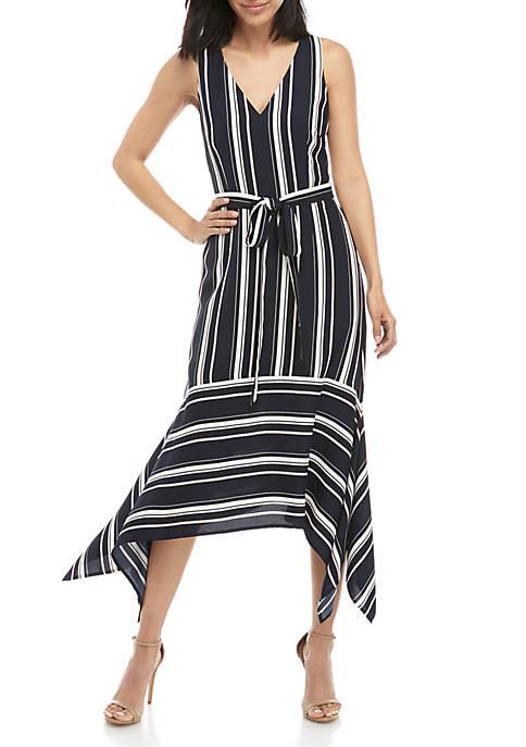 Sleeveless Stripe Tie Waist Asymmetric Hem Dress