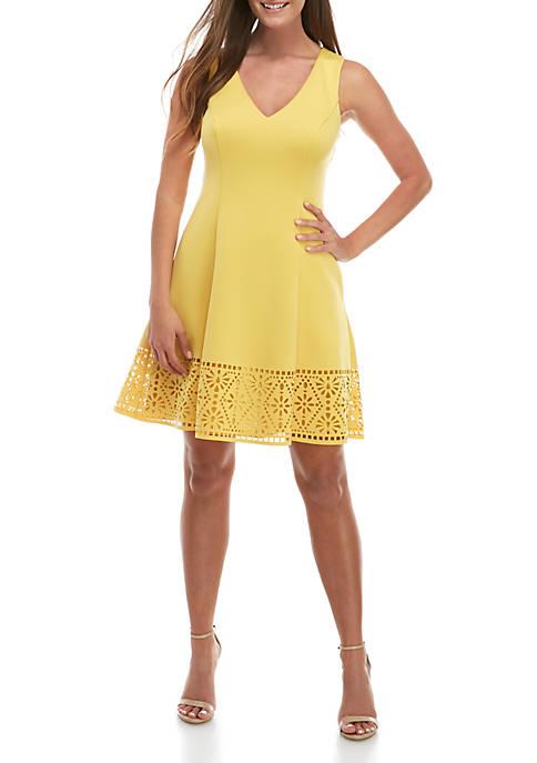 Sleeveless Lasercut Hem Scuba Fit and Flare Dress