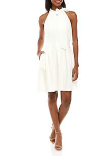 836ae862ce5 ... Vince Camuto Sleeveless Bow Neck Crepe Fit and Flare Dress