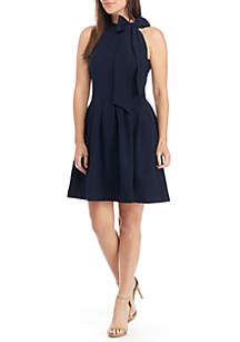 Sleeveless Bow Neck Crepe Fit and Flare Dress