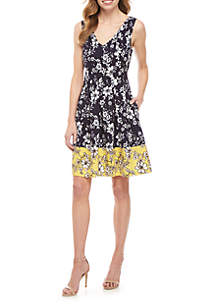 Vince Camuto Sleeveless Floral Fit and Flare Dress